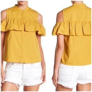LUCKY BRAND NWOT Mustard Cold Shoulder Top Size L